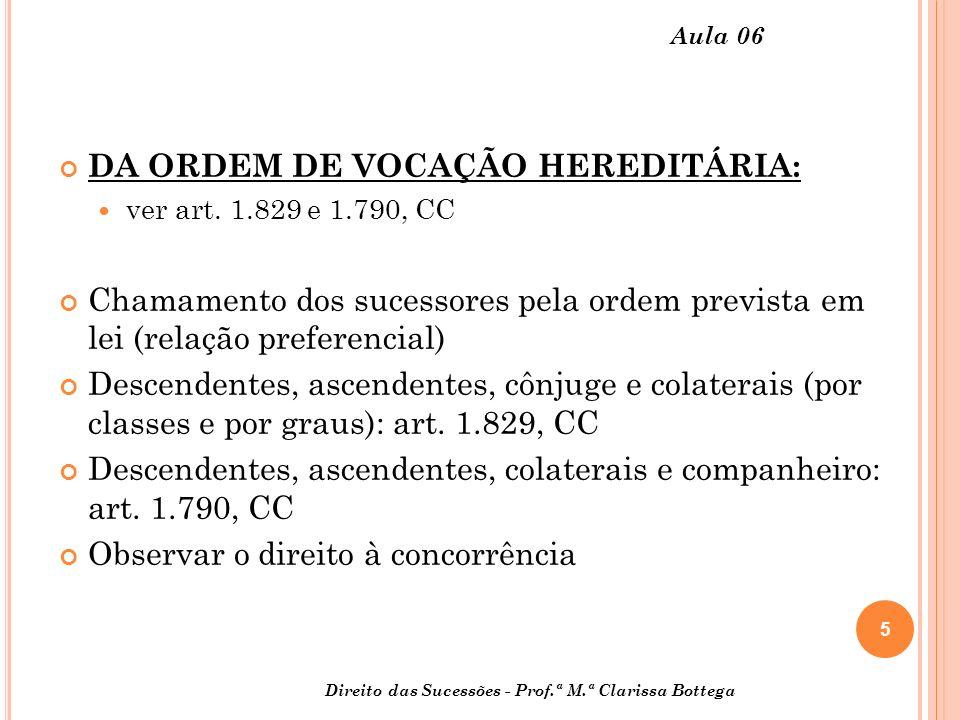 5 Aula 06 DA ORDEM DE VOCAÇÃO HEREDITÁRIA: ver art.