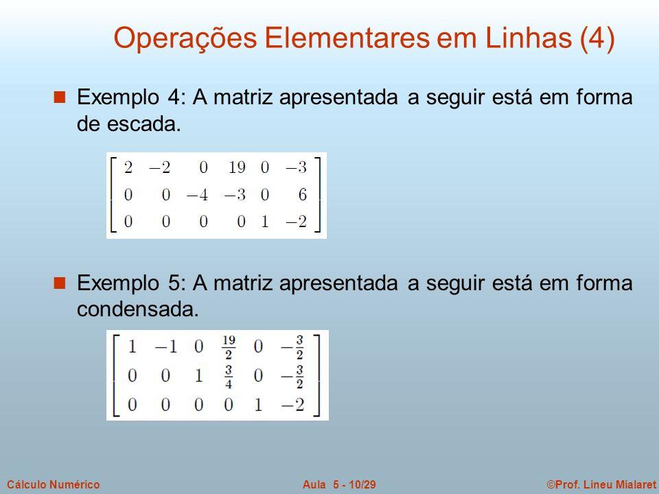 ©Prof. Lineu MialaretAula 5 - 10/29Cálculo Numérico n Exemplo 4: A matriz apresentada a seguir está em forma de escada. n Exemplo 5: A matriz apresent