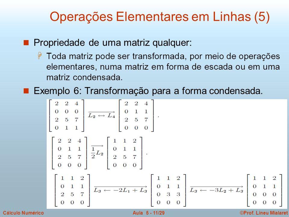 ©Prof. Lineu MialaretAula 5 - 11/29Cálculo Numérico n Propriedade de uma matriz qualquer: H Toda matriz pode ser transformada, por meio de operações e