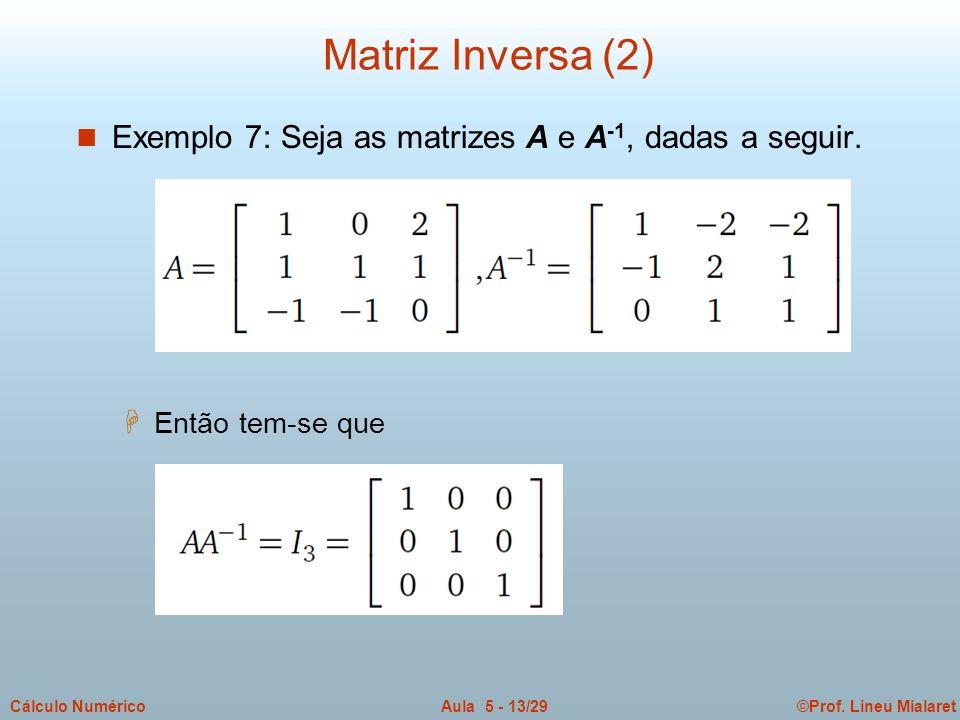 ©Prof. Lineu MialaretAula 5 - 13/29Cálculo Numérico n Exemplo 7: Seja as matrizes A e A -1, dadas a seguir. H Então tem-se que Matriz Inversa (2)