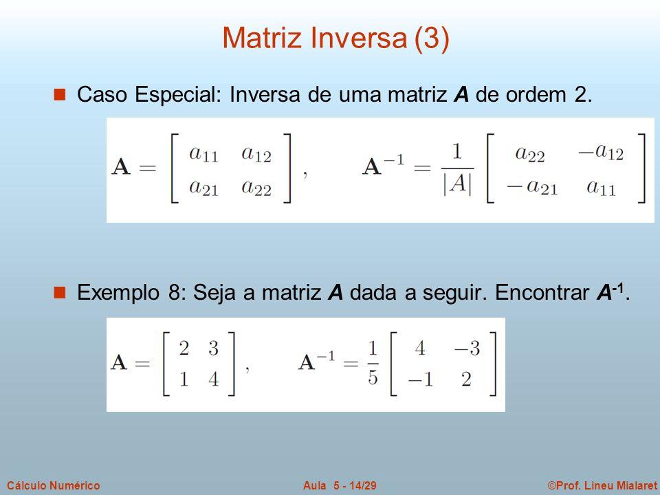 ©Prof. Lineu MialaretAula 5 - 14/29Cálculo Numérico n Caso Especial: Inversa de uma matriz A de ordem 2. n Exemplo 8: Seja a matriz A dada a seguir. E
