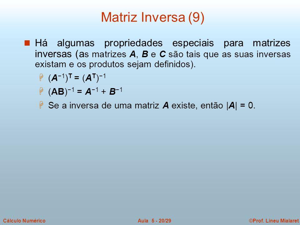©Prof. Lineu MialaretAula 5 - 20/29Cálculo Numérico n Há algumas propriedades especiais para matrizes inversas (a s matrizes A, B e C são tais que as