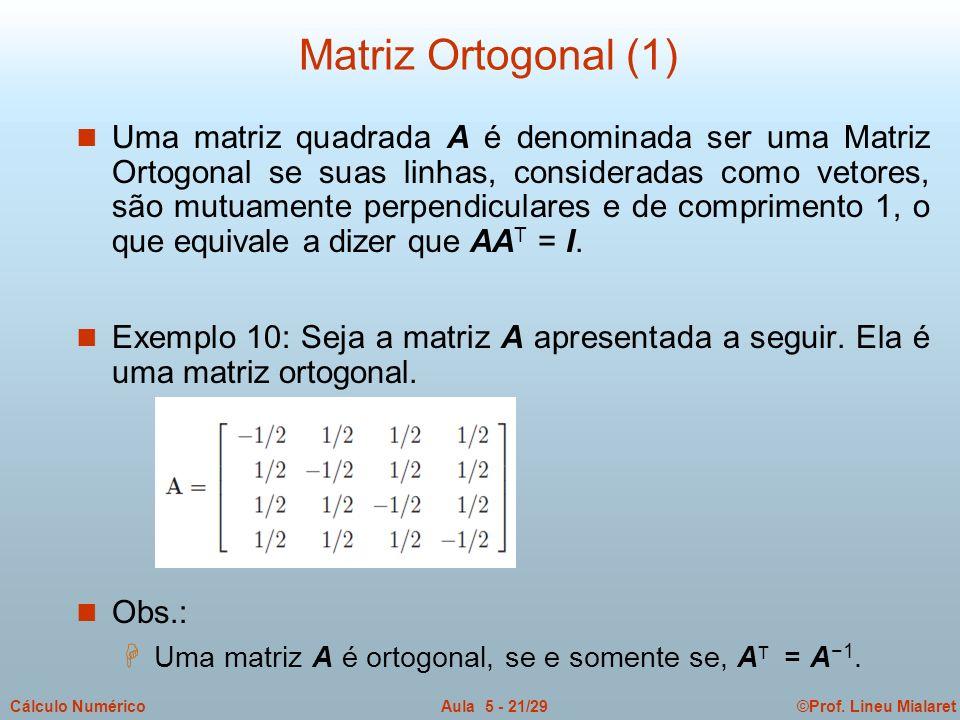©Prof. Lineu MialaretAula 5 - 21/29Cálculo Numérico n Uma matriz quadrada A é denominada ser uma Matriz Ortogonal se suas linhas, consideradas como ve