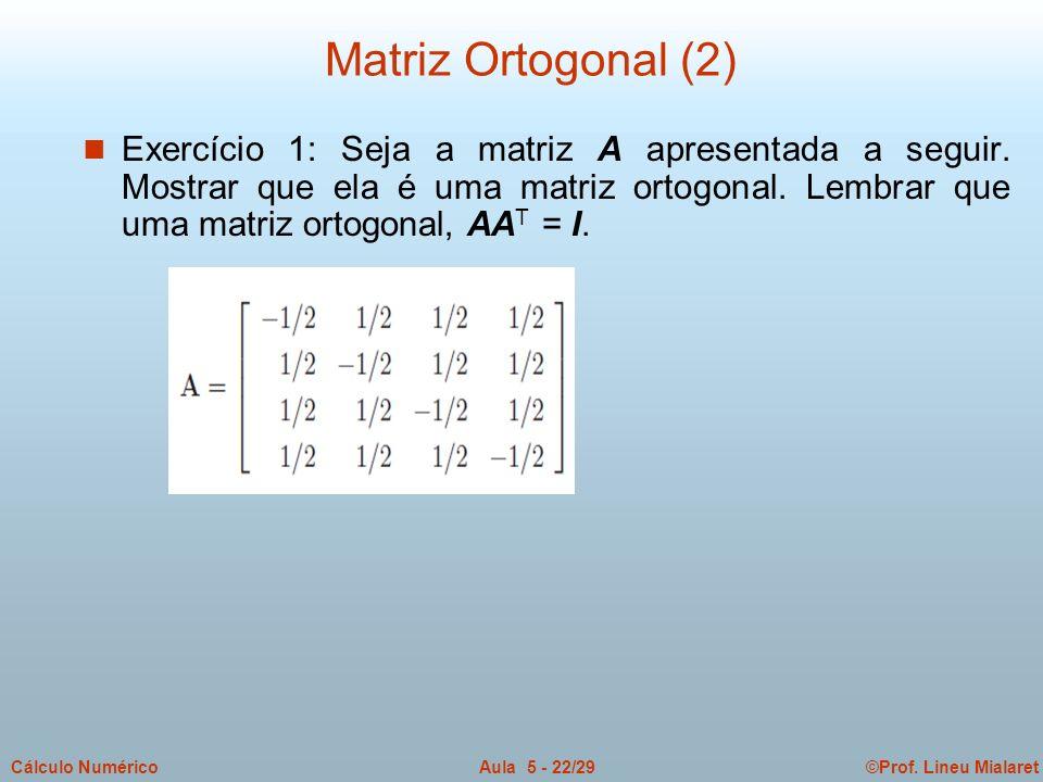 ©Prof. Lineu MialaretAula 5 - 22/29Cálculo Numérico n Exercício 1: Seja a matriz A apresentada a seguir. Mostrar que ela é uma matriz ortogonal. Lembr