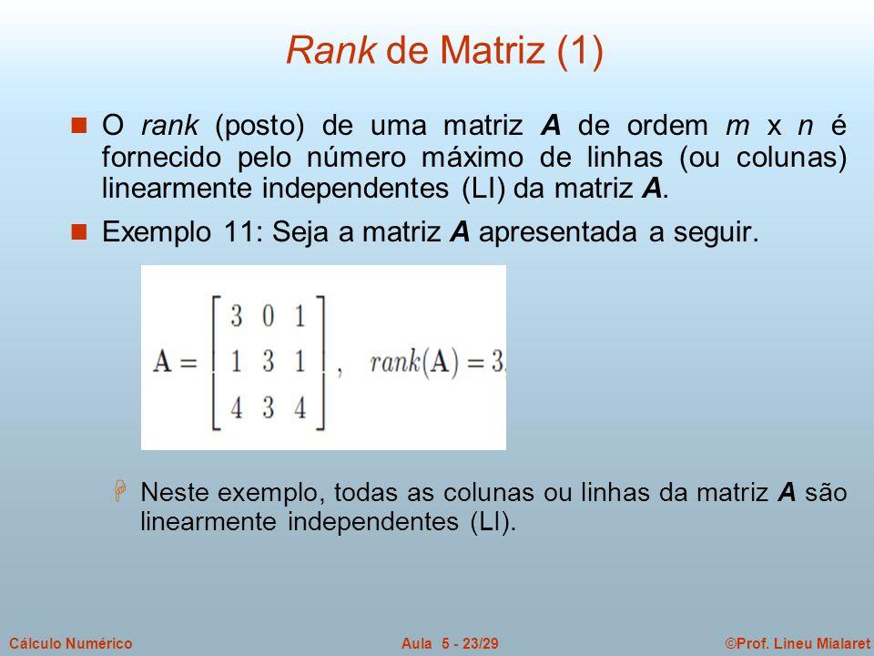 ©Prof. Lineu MialaretAula 5 - 23/29Cálculo Numérico n O rank (posto) de uma matriz A de ordem m x n é fornecido pelo número máximo de linhas (ou colun