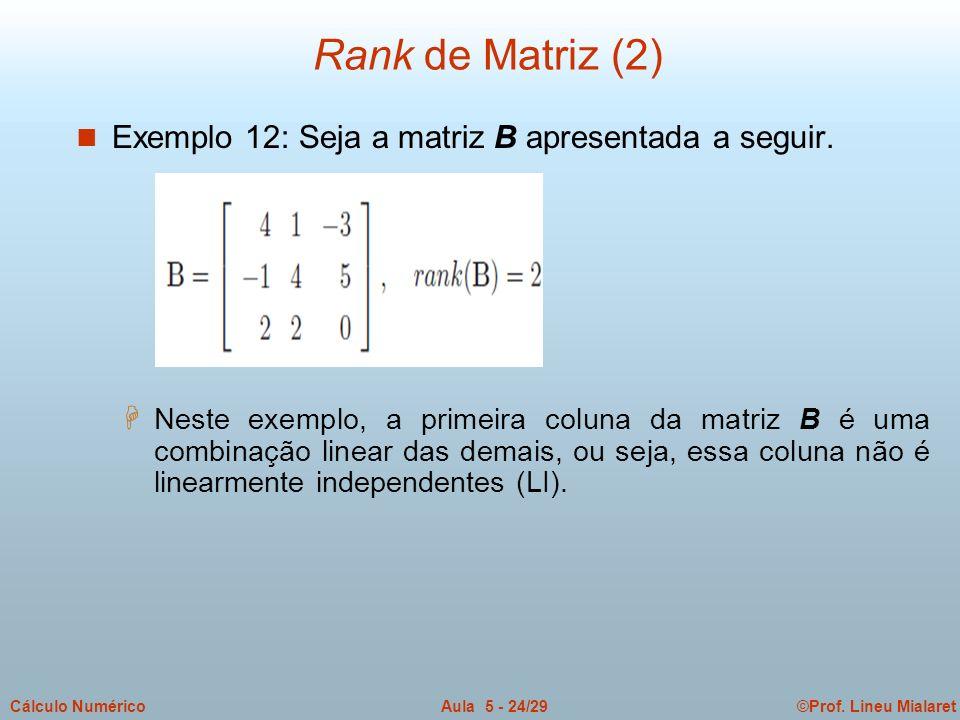 ©Prof. Lineu MialaretAula 5 - 24/29Cálculo Numérico n Exemplo 12: Seja a matriz B apresentada a seguir. H Neste exemplo, a primeira coluna da matriz B