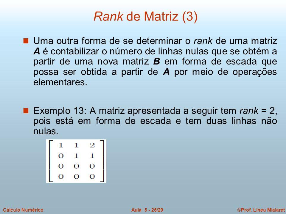 ©Prof. Lineu MialaretAula 5 - 25/29Cálculo Numérico n Uma outra forma de se determinar o rank de uma matriz A é contabilizar o número de linhas nulas