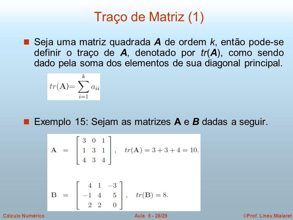 ©Prof. Lineu MialaretAula 5 - 28/29Cálculo Numérico n Seja uma matriz quadrada A de ordem k, então pode-se definir o traço de A, denotado por tr(A), c