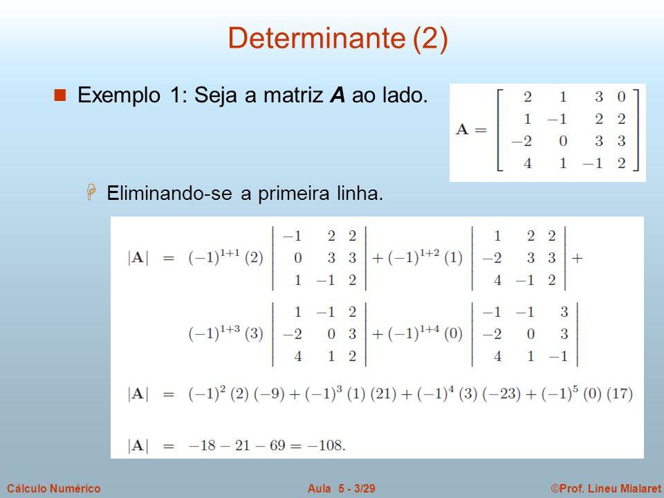 ©Prof. Lineu MialaretAula 5 - 3/29Cálculo Numérico Determinante (2) n Exemplo 1: Seja a matriz A ao lado. H Eliminando-se a primeira linha.