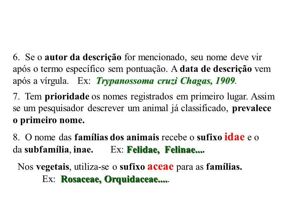 Trypanossoma cruzi Chagas, 1909 6. Se o autor da descrição for mencionado, seu nome deve vir após o termo específico sem pontuação. A data de descriçã