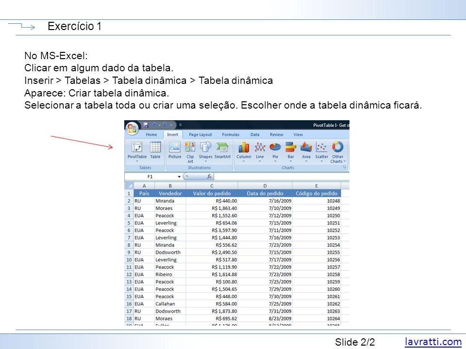 Slide 2/2 Exercício 1 No MS-Excel: Clicar em algum dado da tabela. Inserir > Tabelas > Tabela dinâmica > Tabela dinâmica Aparece: Criar tabela dinâmic
