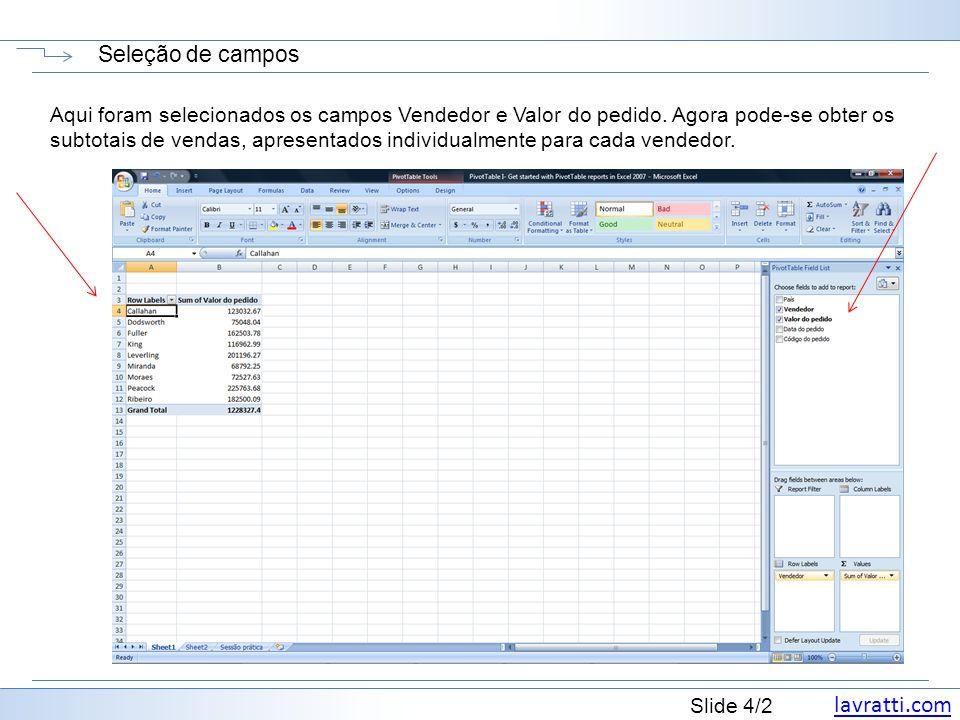 lavratti.com Slide 4/2 Seleção de campos Aqui foram selecionados os campos Vendedor e Valor do pedido. Agora pode-se obter os subtotais de vendas, apr