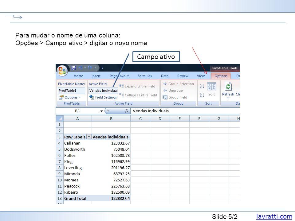 lavratti.com Slide 5/2 Para mudar o nome de uma coluna: Opções > Campo ativo > digitar o novo nome Campo ativo