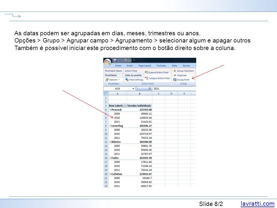 lavratti.com Slide 8/2 As datas podem ser agrupadas em dias, meses, trimestres ou anos. Opções > Grupo > Agrupar campo > Agrupamento > selecionar algu