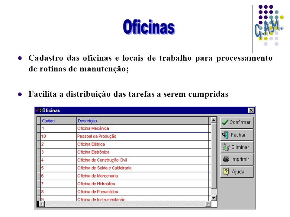 Cadastro das oficinas e locais de trabalho para processamento de rotinas de manutenção; Facilita a distribuição das tarefas a serem cumpridas