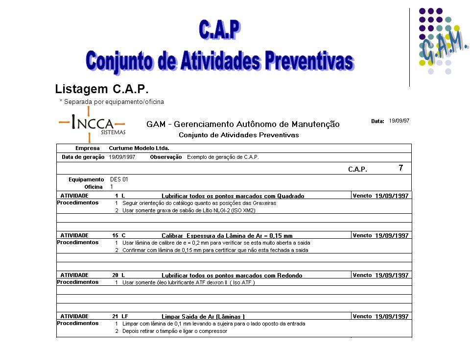 Listagem C.A.P. * Separada por equipamento/oficina