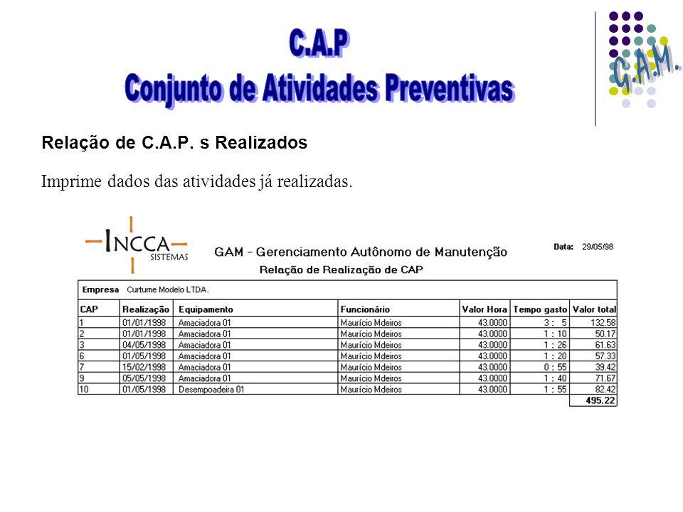 Relação de C.A.P. s Realizados Imprime dados das atividades já realizadas.