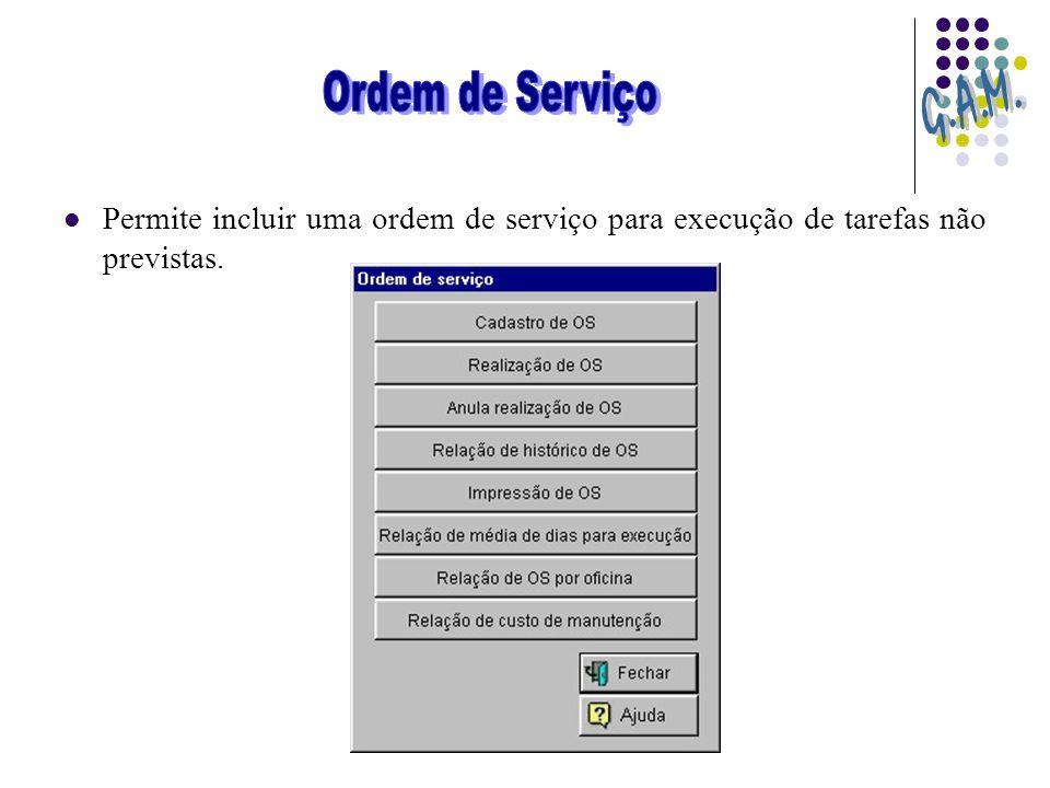 Permite incluir uma ordem de serviço para execução de tarefas não previstas.