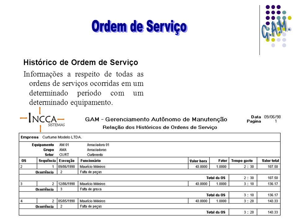 Histórico de Ordem de Serviço Informações a respeito de todas as ordens de serviços ocorridas em um determinado período com um determinado equipamento