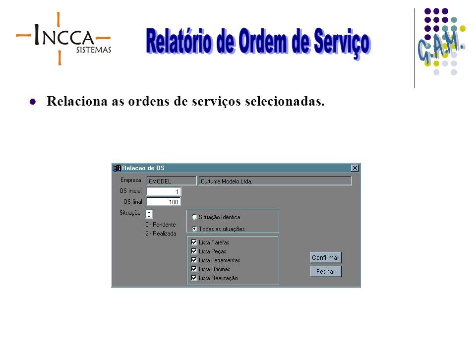 Relaciona as ordens de serviços selecionadas.