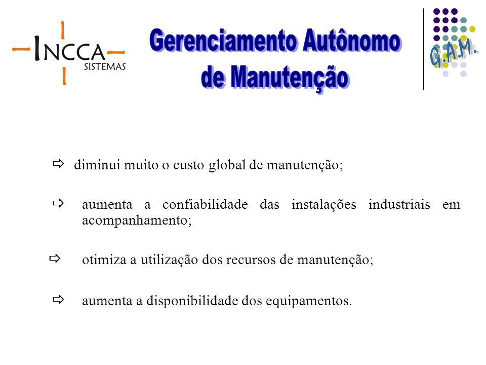 diminui muito o custo global de manutenção; aumenta a confiabilidade das instalações industriais em acompanhamento; otimiza a utilização dos recursos