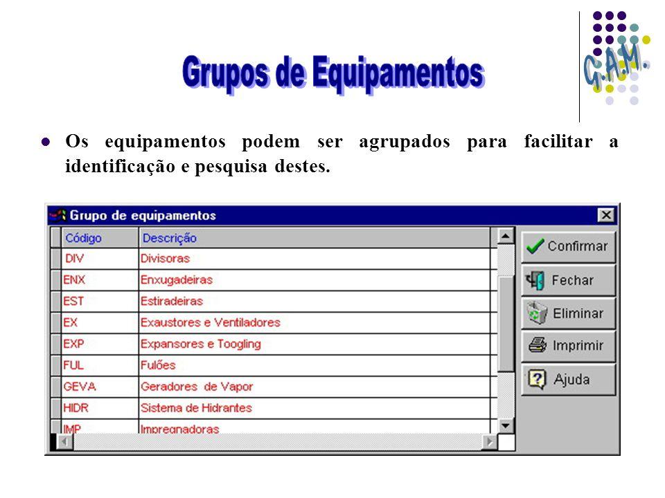 Os equipamentos podem ser agrupados para facilitar a identificação e pesquisa destes.
