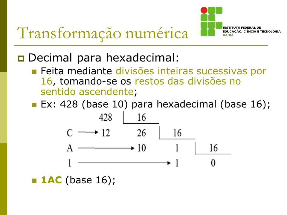 Transformação numérica Decimal para hexadecimal: Feita mediante divisões inteiras sucessivas por 16, tomando-se os restos das divisões no sentido asce