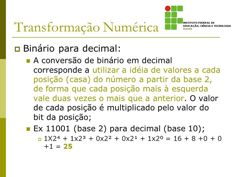 Transformação Numérica Binário para decimal: A conversão de binário em decimal corresponde a utilizar a idéia de valores a cada posição (casa) do núme