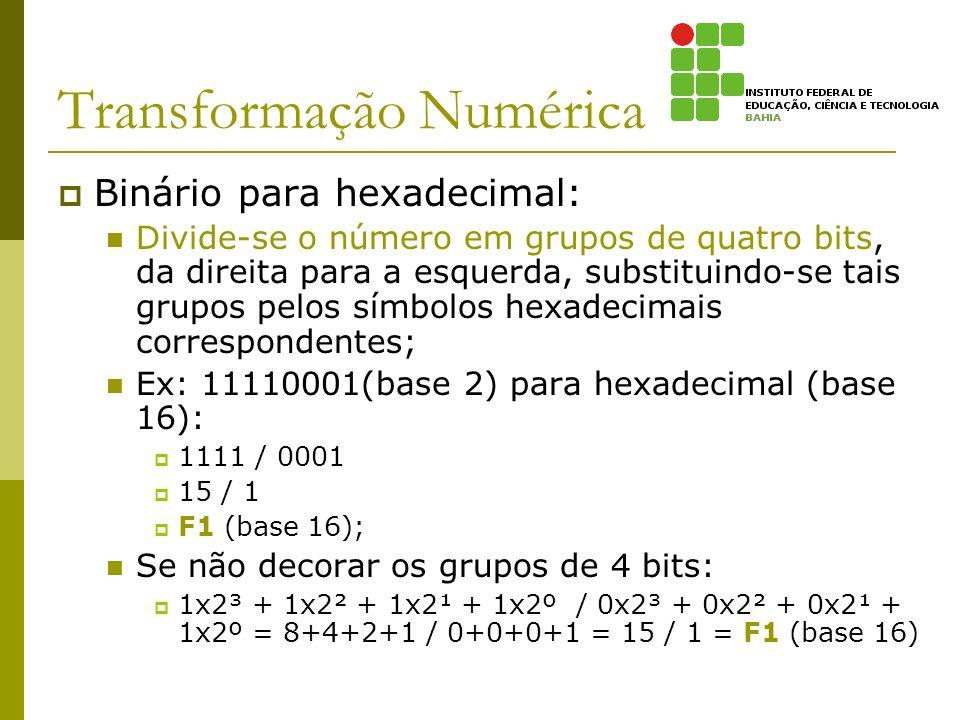 Transformação Numérica Binário para hexadecimal: Divide-se o número em grupos de quatro bits, da direita para a esquerda, substituindo-se tais grupos