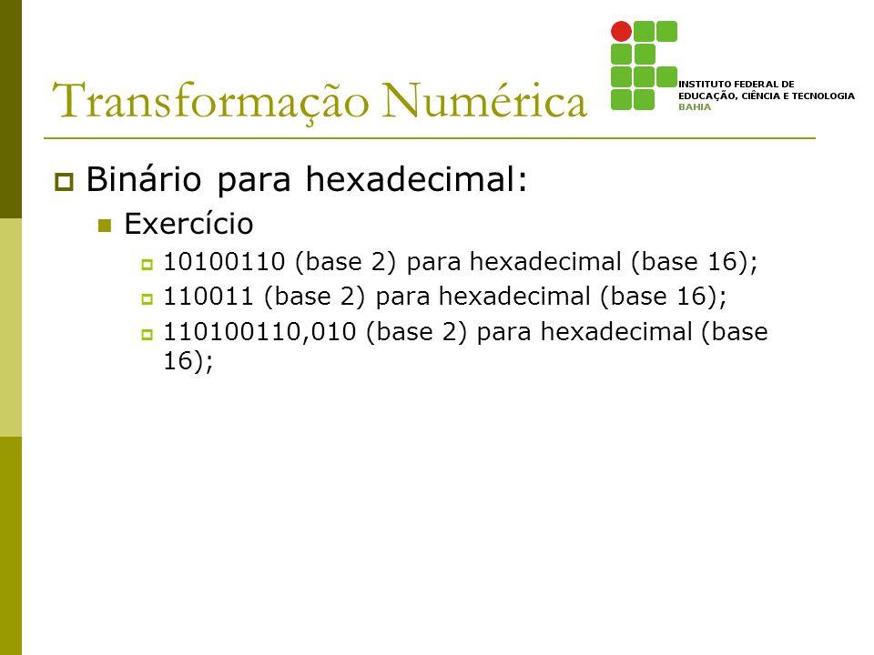 Transformação Numérica Binário para hexadecimal: Exercício 10100110 (base 2) para hexadecimal (base 16); 110011 (base 2) para hexadecimal (base 16); 1