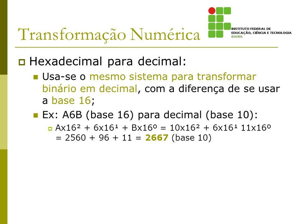 Transformação Numérica Hexadecimal para decimal: Usa-se o mesmo sistema para transformar binário em decimal, com a diferença de se usar a base 16; Ex: