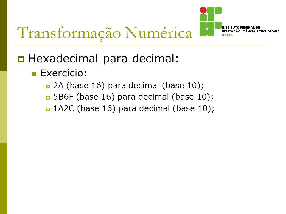 Transformação Numérica Hexadecimal para decimal: Exercício: 2A (base 16) para decimal (base 10); 5B6F (base 16) para decimal (base 10); 1A2C (base 16)
