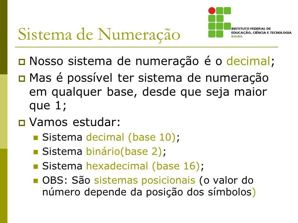 Sistema de Numeração Nosso sistema de numeração é o decimal; Mas é possível ter sistema de numeração em qualquer base, desde que seja maior que 1; Vam
