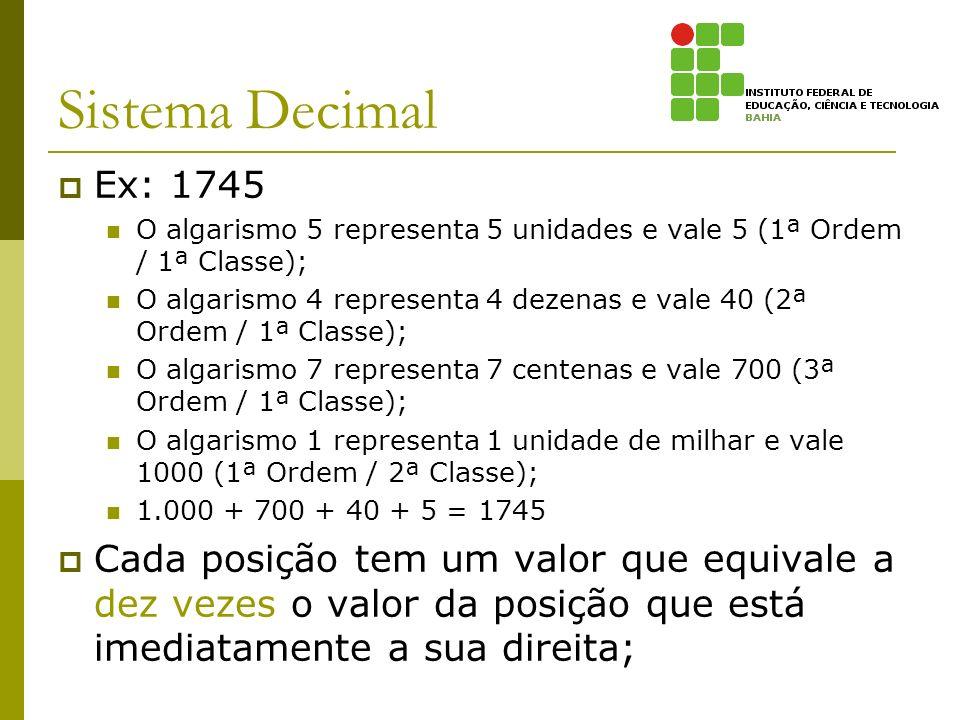 Sistema Decimal Ex: 1745 O algarismo 5 representa 5 unidades e vale 5 (1ª Ordem / 1ª Classe); O algarismo 4 representa 4 dezenas e vale 40 (2ª Ordem /
