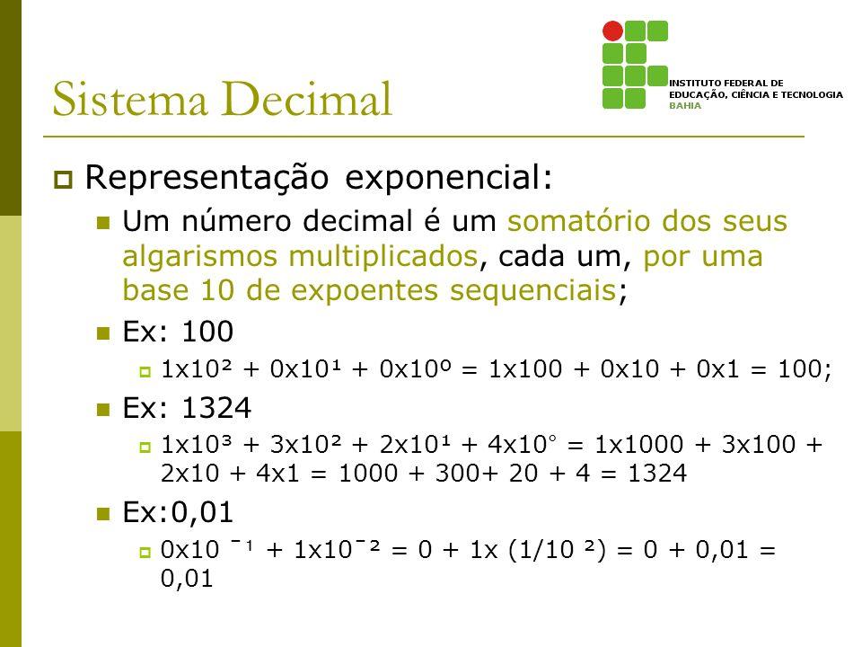 Sistema Decimal Representação exponencial: Um número decimal é um somatório dos seus algarismos multiplicados, cada um, por uma base 10 de expoentes s