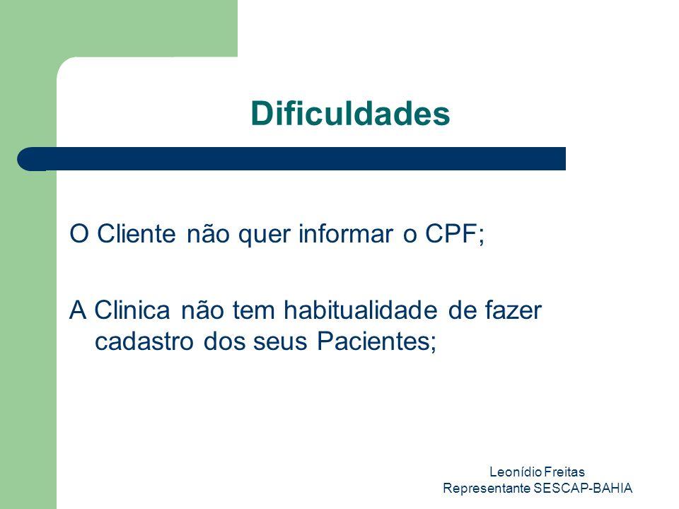 Leonídio Freitas Representante SESCAP-BAHIA Dificuldades O Cliente não quer informar o CPF; A Clinica não tem habitualidade de fazer cadastro dos seus