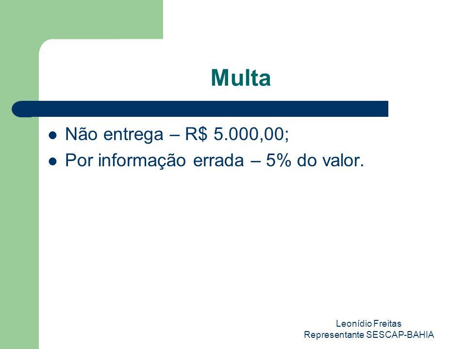 Leonídio Freitas Representante SESCAP-BAHIA Multa Não entrega – R$ 5.000,00; Por informação errada – 5% do valor.