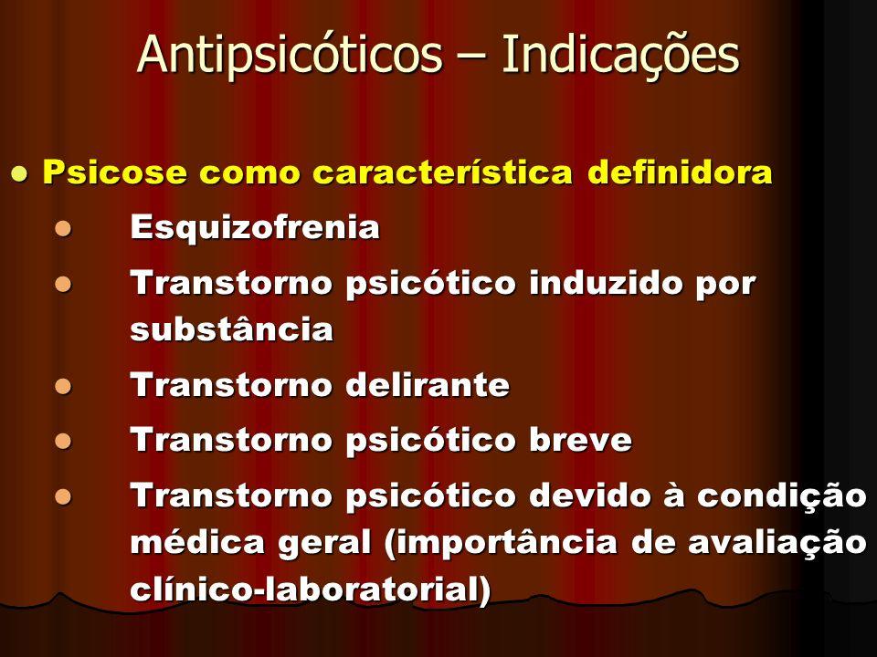 Antipsicóticos – Indicações Psicose como característica definidora Psicose como característica definidora Esquizofrenia Esquizofrenia Transtorno psicó