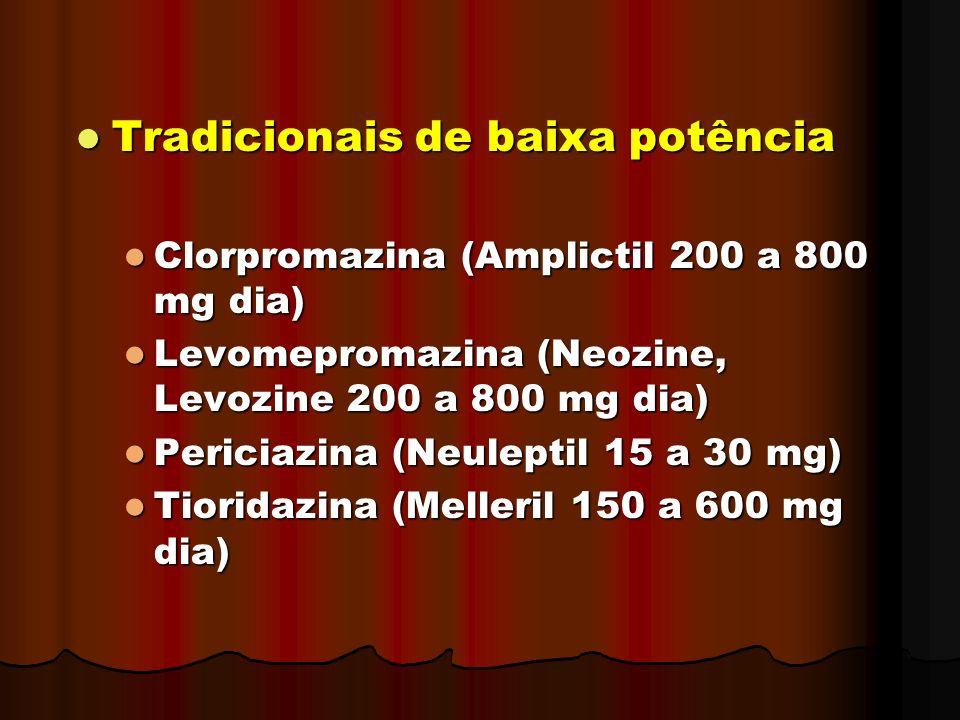 Tradicionais de baixa potência Tradicionais de baixa potência Clorpromazina (Amplictil 200 a 800 mg dia) Clorpromazina (Amplictil 200 a 800 mg dia) Le