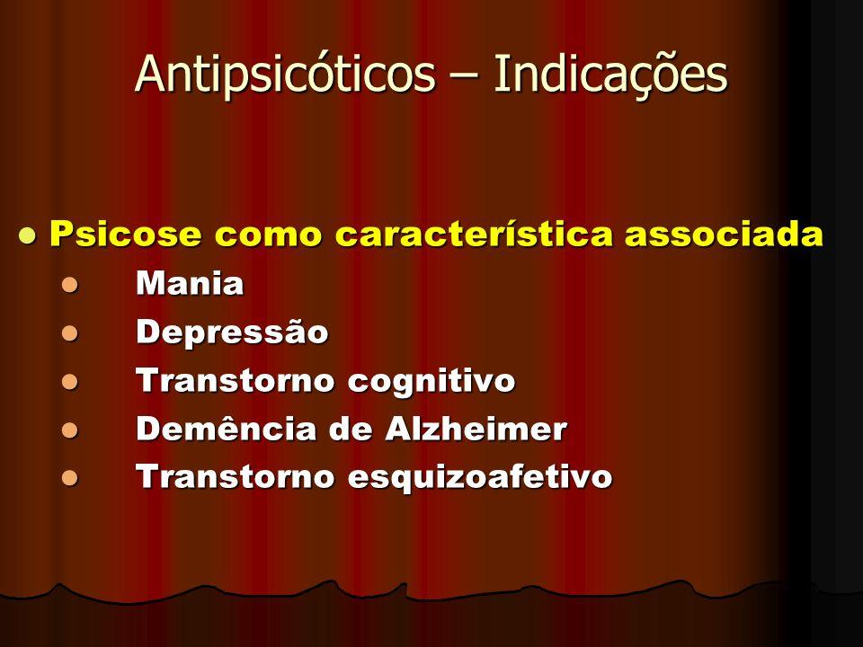Antipsicóticos – Indicações Psicose como característica associada Psicose como característica associada Mania Mania Depressão Depressão Transtorno cog