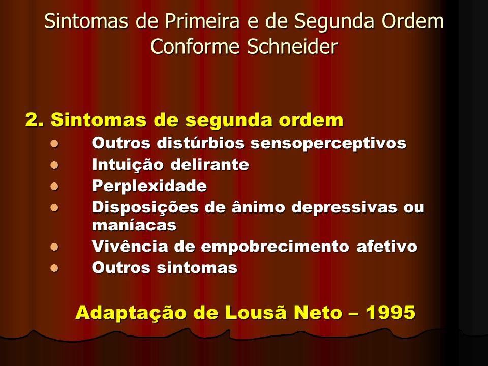 Sintomas de Primeira e de Segunda Ordem Conforme Schneider 2. Sintomas de segunda ordem Outros distúrbios sensoperceptivos Outros distúrbios sensoperc