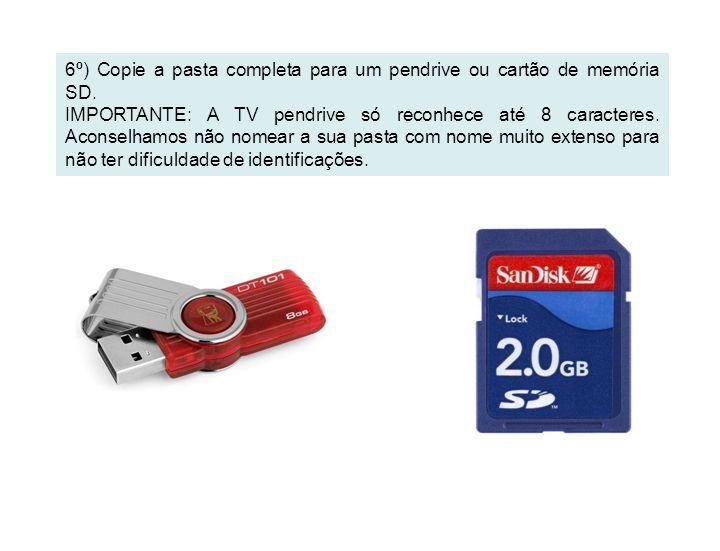6º) Copie a pasta completa para um pendrive ou cartão de memória SD. IMPORTANTE: A TV pendrive só reconhece até 8 caracteres. Aconselhamos não nomear