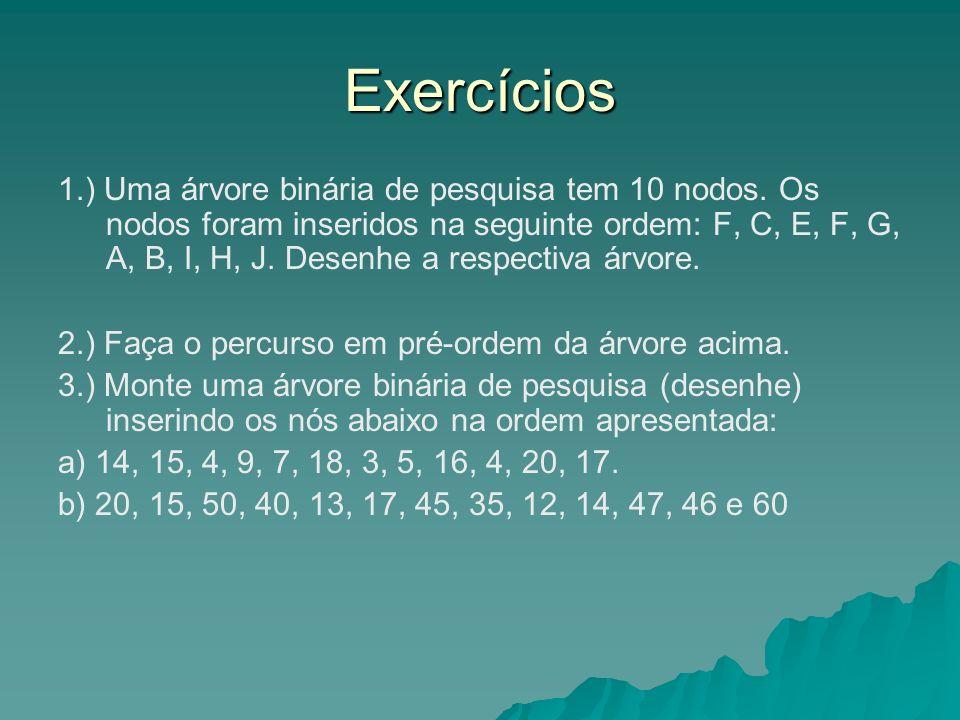 Exercícios 1.) Uma árvore binária de pesquisa tem 10 nodos.