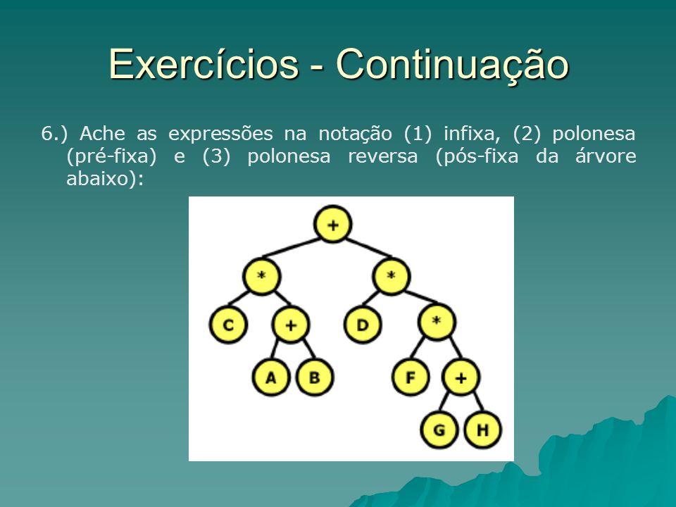 Exercícios - Continuação 6.) Ache as expressões na notação (1) infixa, (2) polonesa (pré-fixa) e (3) polonesa reversa (pós-fixa da árvore abaixo):