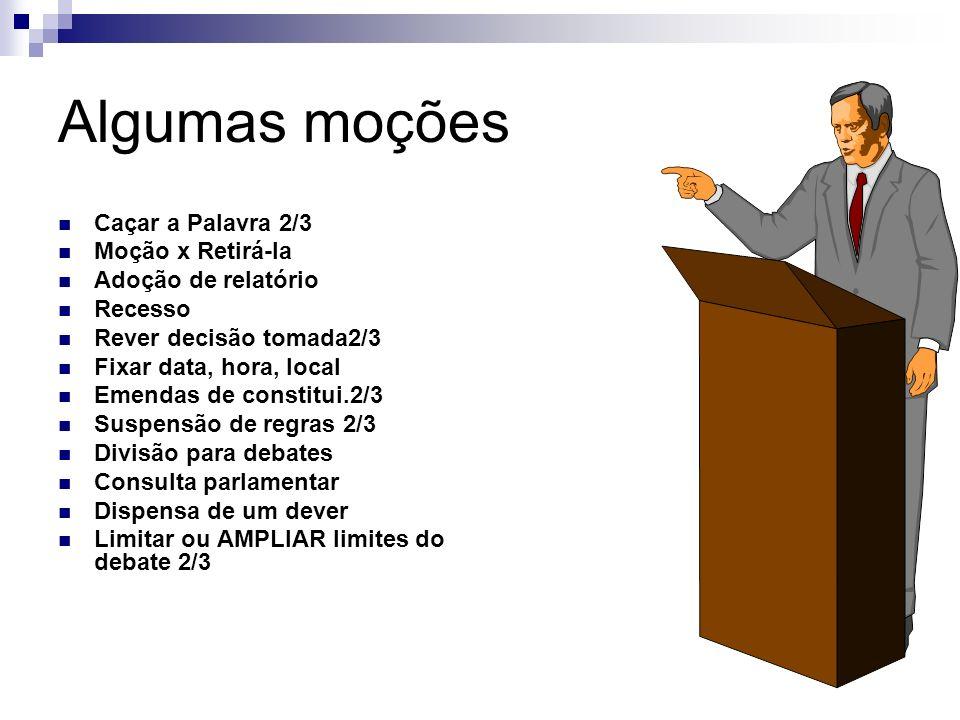 1. Apresentação da moção pela secretaria 2. Presidente faz resumo e verifica se está secundada 3. Levantamento do quorum e forma de votação: 1/2 + 1 =