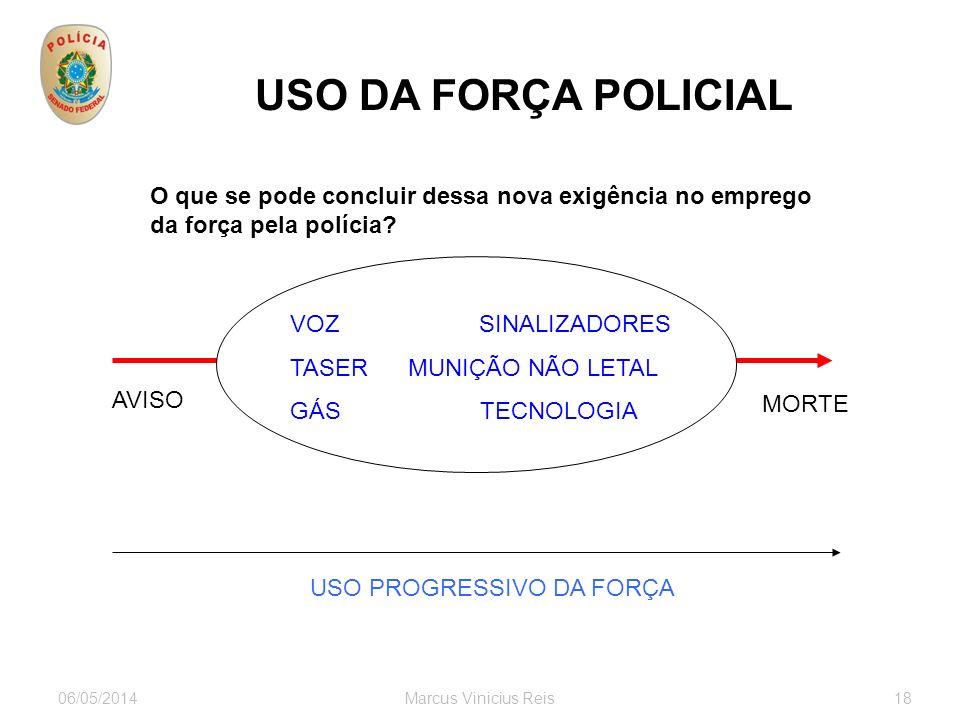 06/05/2014Marcus Vinicius Reis18 USO DA FORÇA POLICIAL O que se pode concluir dessa nova exigência no emprego da força pela polícia.