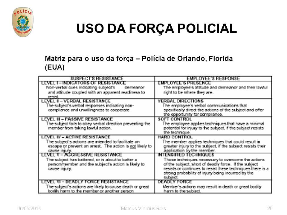 06/05/2014Marcus Vinicius Reis20 USO DA FORÇA POLICIAL Matriz para o uso da força – Polícia de Orlando, Florida (EUA)