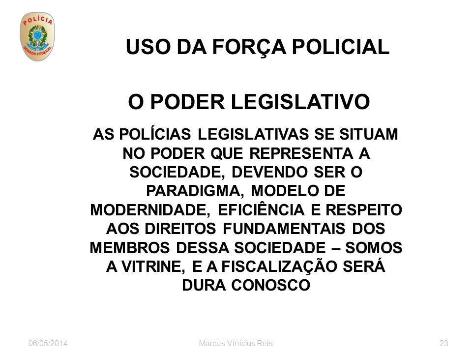 06/05/2014Marcus Vinicius Reis23 USO DA FORÇA POLICIAL O PODER LEGISLATIVO servidores visitantes ONGs associações autoridades empresários estrangeiros
