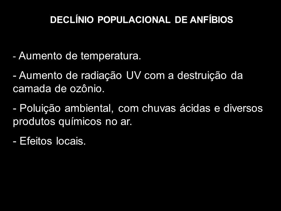 DECLÍNIO POPULACIONAL DE ANFÍBIOS - Aumento de temperatura. - Aumento de radiação UV com a destruição da camada de ozônio. - Poluição ambiental, com c