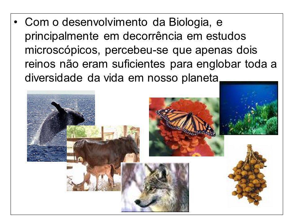 Com o desenvolvimento da Biologia, e principalmente em decorrência em estudos microscópicos, percebeu-se que apenas dois reinos não eram suficientes p